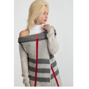 Sweaters - Clearance Cream Plaid Single button cardigan